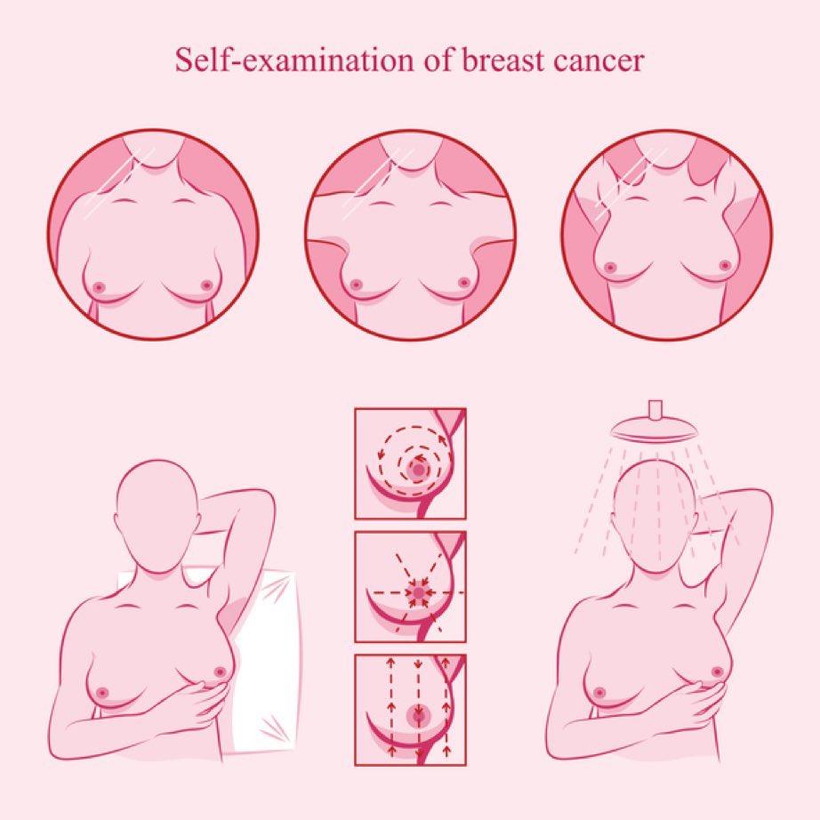 الطريقة الثانية فحص الثدي أثناء الاستحمام أو الجلوس أو الوقوف