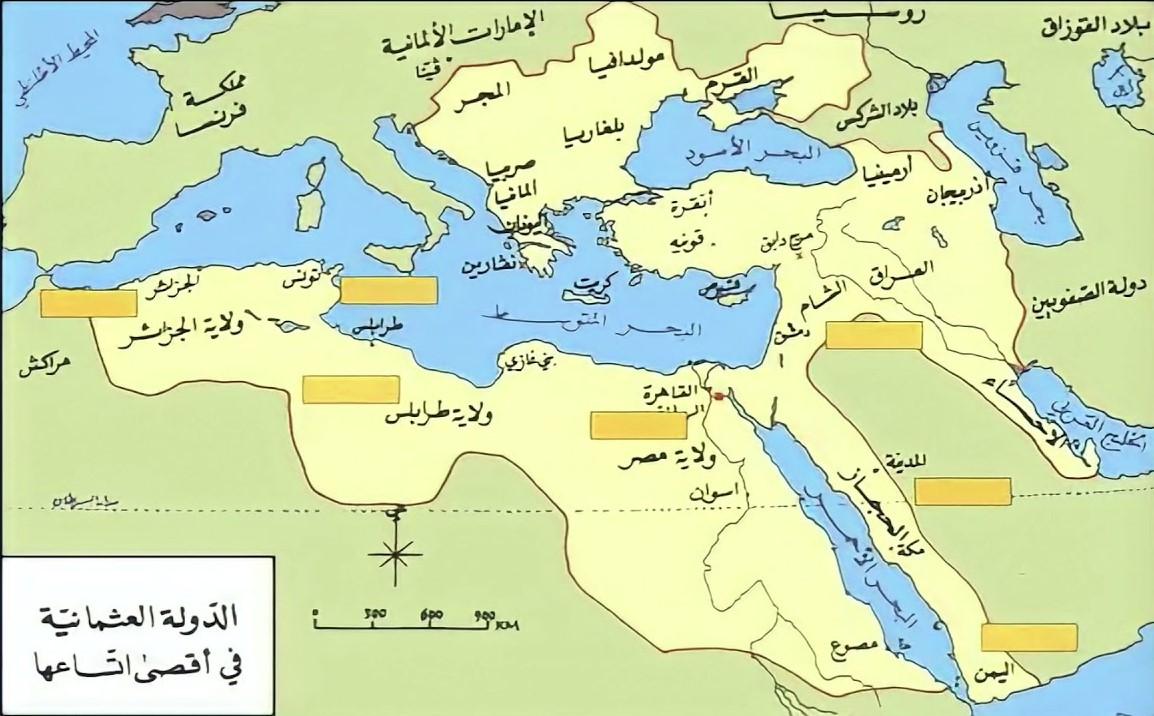 خريطة الدولة العثمانية في أقصى اتساعها